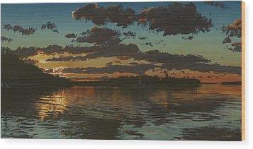 Big Tub Sunset Wood Print by Michael Marcotte
