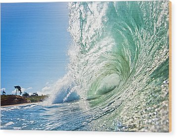 Wood Print featuring the photograph Big Wave On The Shore by Paul Topp