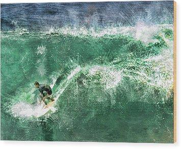 Big Wave Surfing Wood Print by Elaine Plesser