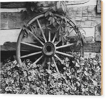 Big Wheel Bw Wood Print by Mel Steinhauer