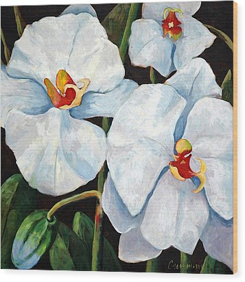 Big White Orchids - Floral Art By Betty Cummings Wood Print by Sharon Cummings