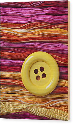Big Yellow Button  Wood Print by Garry Gay