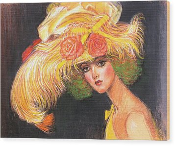 Wood Print featuring the painting Big Yellow Fashion Hat by Sue Halstenberg