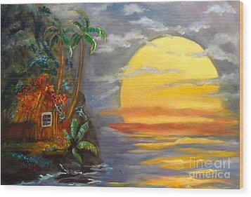 Big Yellow Sun Wood Print