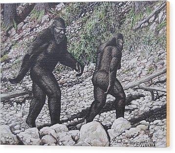 Bigfoot Couple Wood Print