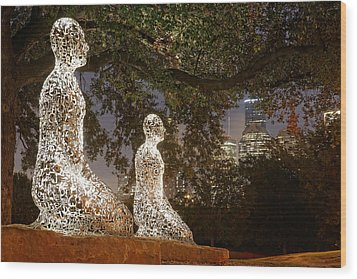 Bigger Than The Sum Of Our Parts - Tolerance Sculptures Downtown Houston Texas Wood Print