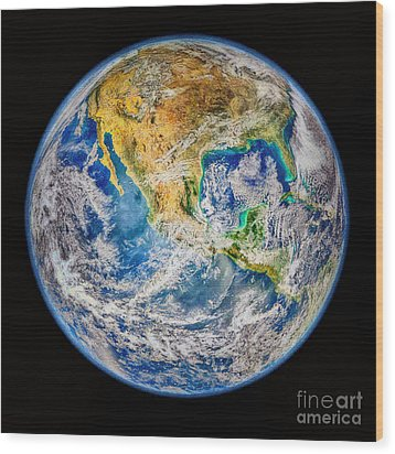Biggest Image Of Earth Ever N. A. S. A Wood Print by Bob and Nadine Johnston