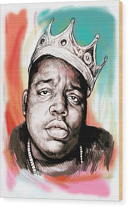 Biggie Smalls Colour Drawing Art Poster Wood Print by Kim Wang