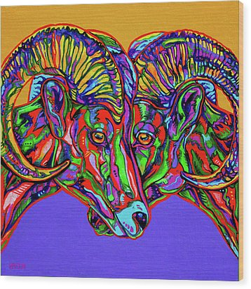 Bighorn Sheep Wood Print by Derrick Higgins
