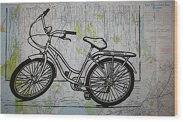 Bike 5 On Map Wood Print by William Cauthern