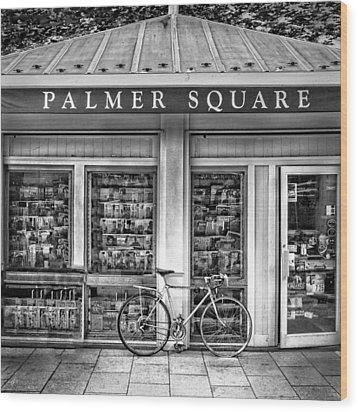 Bike At Palmer Square Book Store In Princeton Wood Print by Ben and Raisa Gertsberg