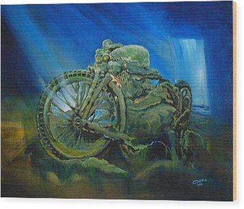 Bike In A Different Dimension Wood Print by Ottilia Zakany