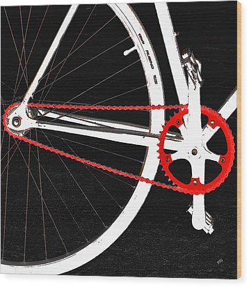 Bike In Black White And Red No 2 Wood Print by Ben and Raisa Gertsberg