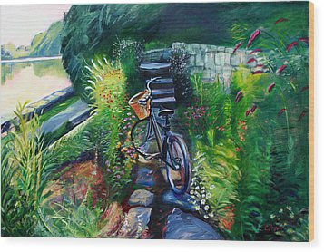 Bike In The Butterfly Garden Wood Print by Colleen Proppe