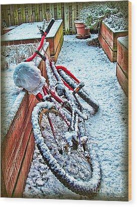 Bike In Winter Wood Print by Joan  Minchak