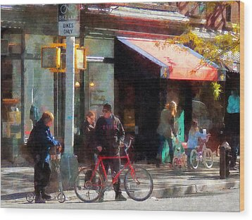 Bike Lane Wood Print by Susan Savad