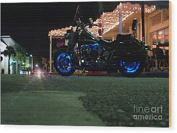 Bike Night In Blue Light Wood Print