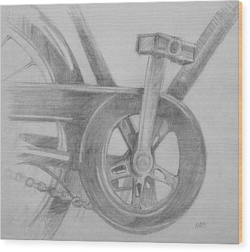 Wood Print featuring the drawing Bike Pedal by Michele Engling