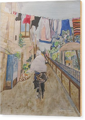 Bike Rider In Jerusalem Wood Print by Esther Newman-Cohen