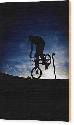 Bike Silhouette Wood Print by Joel Loftus