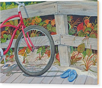 Bike To The Beach Wood Print