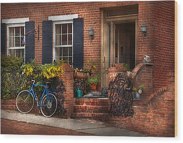 Bike - Waiting For A Ride Wood Print by Mike Savad