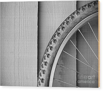 Bike Wheel Black And White Wood Print by Tim Hester