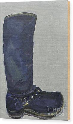 Biker Boot Wood Print by Marisela Mungia
