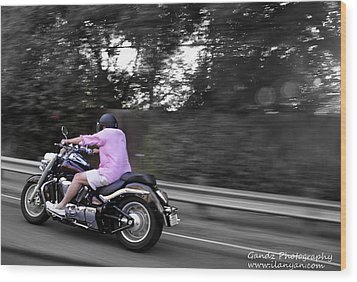 Wood Print featuring the photograph Biker by Gandz Photography