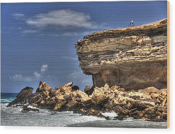 Wood Print featuring the photograph Biker On The Rocky Cliff At La Pared by Julis Simo