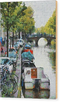 Bikes And Boats In Old Amsterdam Wood Print