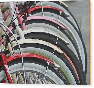 Bikes In A Row Wood Print by Joie Cameron-Brown