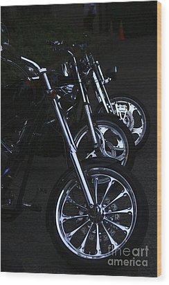 Bikes In The Night Wood Print