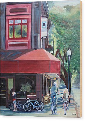 Bikes In Town Wood Print by Colleen Proppe