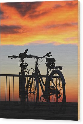 Bikes West Meadow Beach New York Wood Print