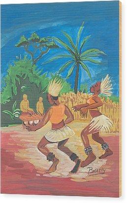 Wood Print featuring the painting Bikutsi Dance 2 From Cameroon by Emmanuel Baliyanga