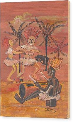Wood Print featuring the painting Bikutsi Dance From Cameroon by Emmanuel Baliyanga