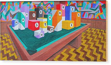 Wood Print featuring the painting Billiard Table by Lorna Maza