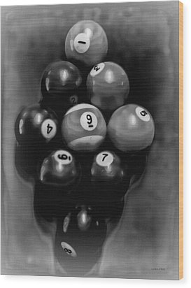 Billiards Art - Your Break - Bw  Wood Print by Lesa Fine