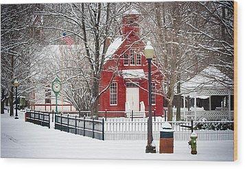 Billie Creek Village Winter Scene Wood Print by Virginia Folkman