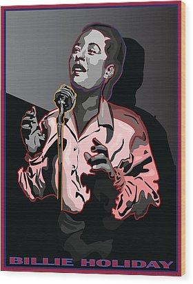 Billie Holiday Jazz Singer Wood Print by Larry Butterworth