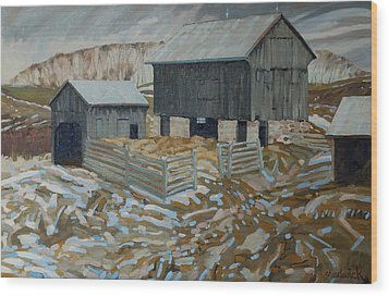 Bill's Barns Wood Print by Phil Chadwick