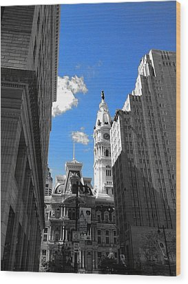 Wood Print featuring the photograph Billy Penn Blue by Photographic Arts And Design Studio