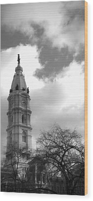 Billy Penn Vertical Bw Wood Print by Photographic Arts And Design Studio