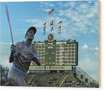 Billy Williams Chicago Cub Statue Wood Print by Thomas Woolworth