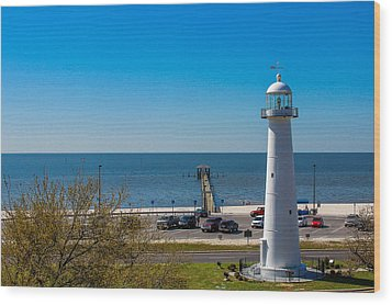 Biloxi Lighthouse And The Gulf Of Mexico Wood Print by Brian Wright