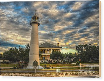 Biloxi Lighthouse And Welcome Center Wood Print by Maddalena McDonald