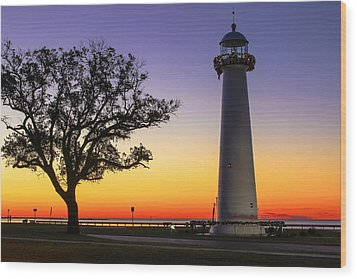 Biloxi Lighthouse Wood Print by Brian Wright