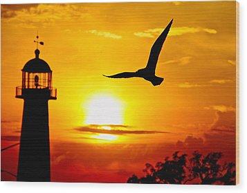 Biloxi Lighthouse Sunset Wood Print by Jim Albritton