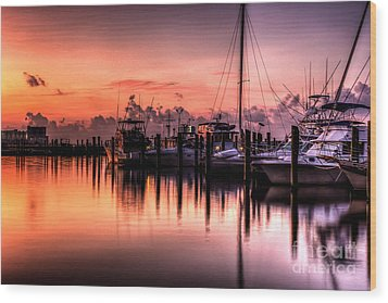 Wood Print featuring the photograph Biloxi Mississippi Harbor by Maddalena McDonald